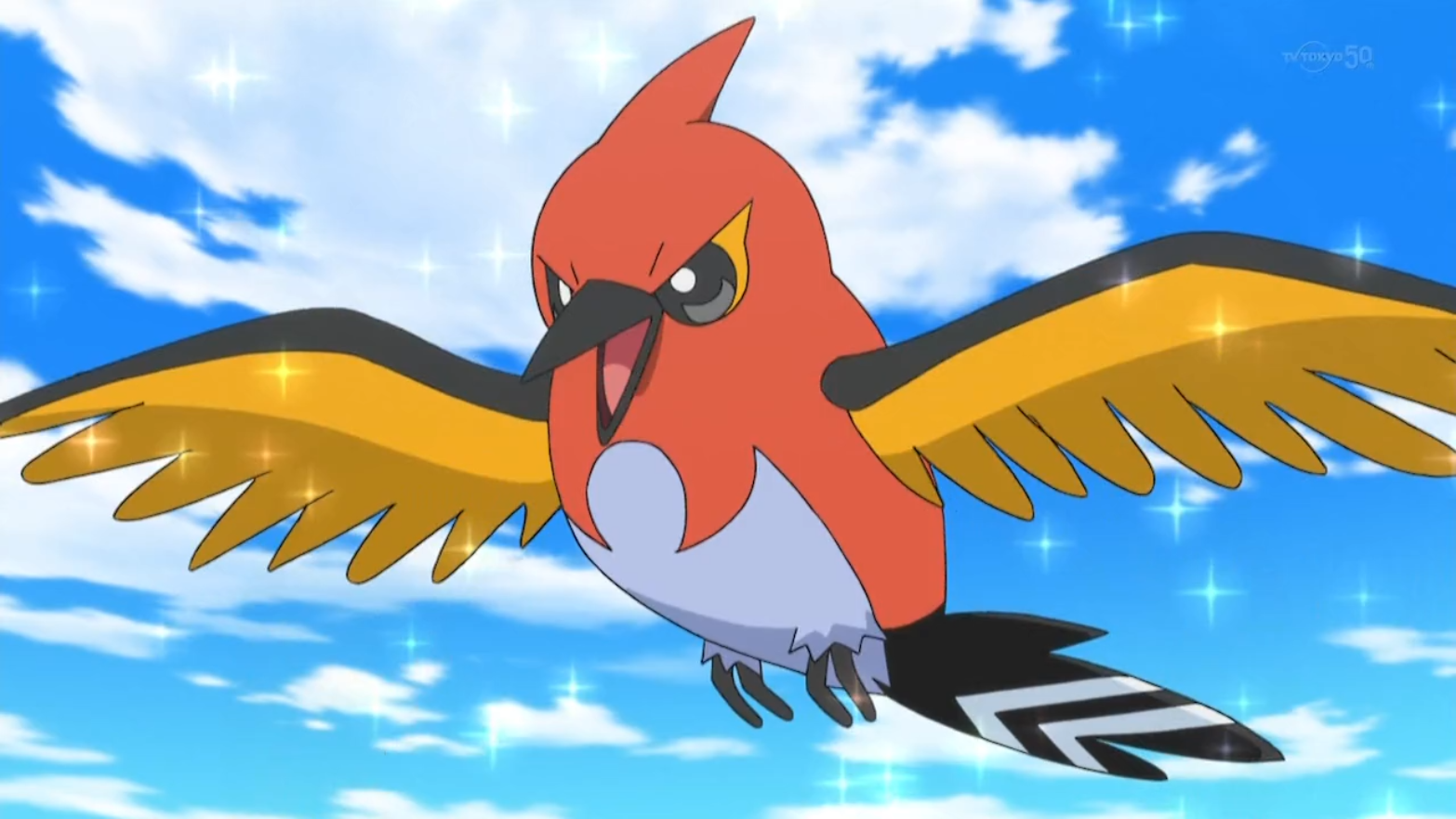 Nico's Fletchinder was introduced alongside with Chester's Fletchling when Serena mentioned going to the Battle Chateau. Fletchinder later battled Farrell's Dusknoir.