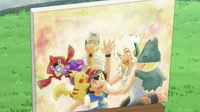 Portrait of Ash with the Professors, Rotom and their Pokémon