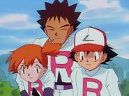 Ash, Misty and Brock in Team Rocket uniforms