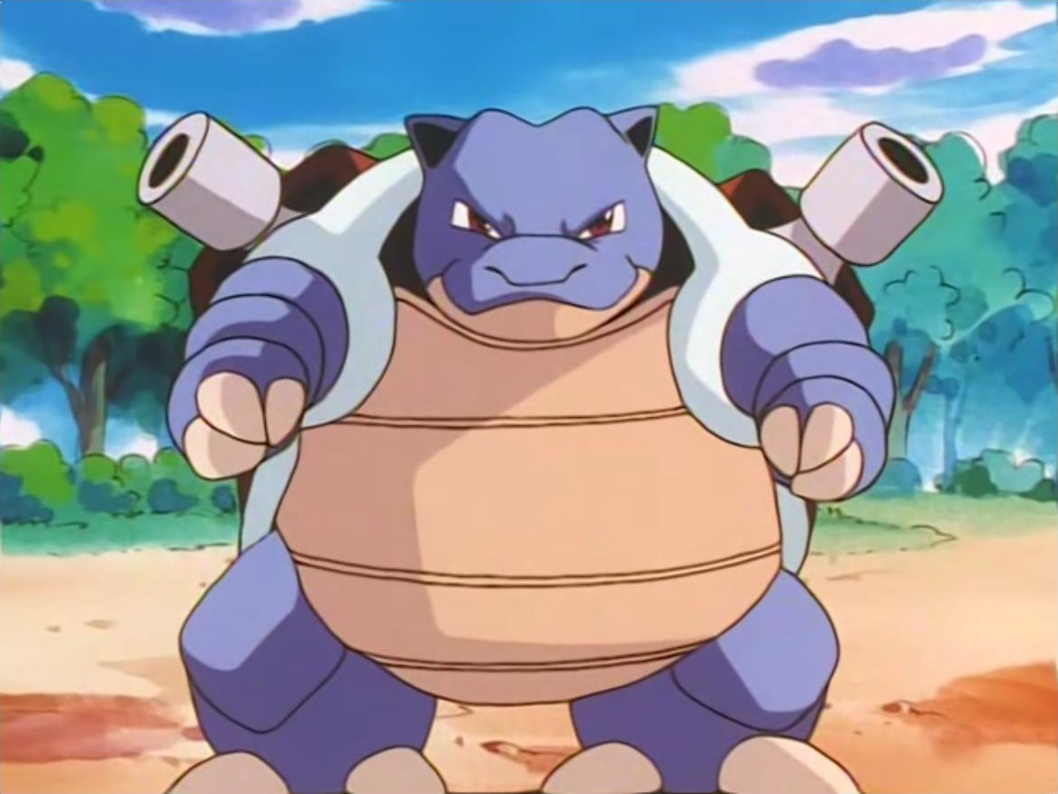 Blastoise is one of the Battle Park's Pokémon. Jessie used it in battle against Ash's Pikachu and got defeated.