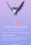 Honchkrow Pokedex