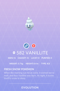 Vanillite Pokedex