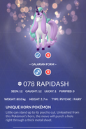 Rapidash Galarian Pokedex