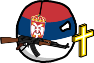 Serbia with a cross and an AK-47