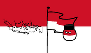 A map of Indonesia at the left and Indonesiaball at the right with its's flag, with a background of the Red-White flag of Indonesia