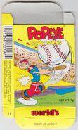Popeye Candy Sticks Box - 41 - Yellow Box - Baseball - Front