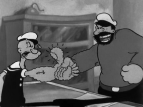 Bluto Squeezes Popeye's Hang.png