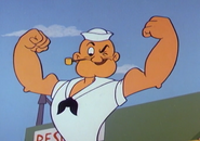 Popeye Showing Off Muscles