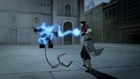 Mako shooting lightning at mecha tank