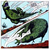 She hulk tosses dinosaur