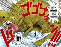Sanji kicks crocodile