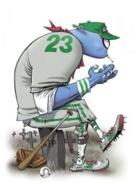 Del in baseball uniform