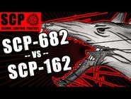 SCP-162 vs SCP-682 illustrated. Ball of Sharp vs The Hard to Destroy Reptile