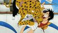 Lucci bites Luffy