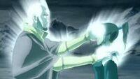 Aang uses Energybending to restore Korra bending