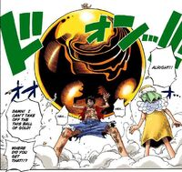 Luffy lifts solid ball of Gold