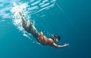 Percy swimming