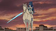 Cure Aqua on a horse with Aqua Ribbon Sword mode