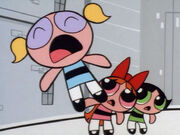 Bubbles screaming; Blossom & Buttercup are shocked