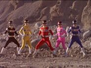 Power Rangers In Space - First Morph and Fight (Power Rangers vs Quantrons)-2