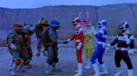 Power Ranger En El Espacio y Las Tortugas Ninja team-up