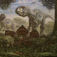 Abajo ceratosaurios y arriba presuntamente un Allosauru