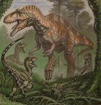 Acrocanthosaurus con pequeños raptores debajo