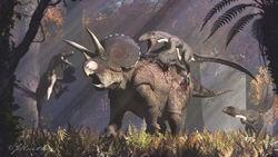 Triceratops and dakotaraptor by paleoguy-damyhnp