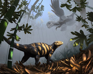 Csotonyi liaoningosaurus-sinornithosaurus 1000.jpg