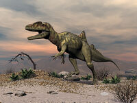 Concavenator-dinosaur-walking-in-the-desert-3d-render-elenarts-elena-duvernay-digital-art