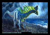 Amargasaurus on rainy beach by bryanbaugh-ddhfpv