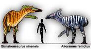 Qianzhousaurus and alioramus by plastospleen-d9awt25