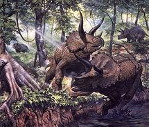 Трицератопс в лесу