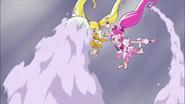 Blossom y Sunshine intentando evadir los proyectiles