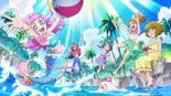 Tropical-Rouge! Pretty Cure sponsor card with the girls, Kururun and Laura