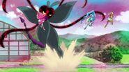 Las Pretty Cure esquivando al Megabyougen