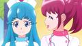 Megumi diciendo que las Cartas Bonitas son geniales y que se podrian hacer muchas cosas con ellas.