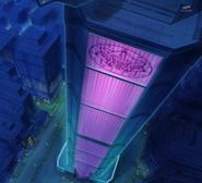HuPC04.36-El edificio de la Corporación Mañana Sombrío visto de noche