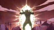 Rey Egoísta abriendo un portal al mundo real