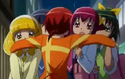 Akane huging her friends