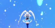 Princess juntando la energia del Disparo Azul Feliz