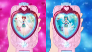 Cartas bonitas patinadoras en el espejo cambio