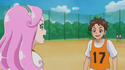 Souta is amazed by her soccer skills