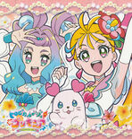 Tropical-Rouge! Pretty Cure Cure Summer, Cure La Mer and Kururun special illustration