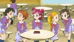 Students talking to Rin and Urara
