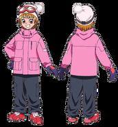 Perfiles de Nagisa con su vestimenta de esquí