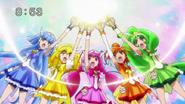 Las Smile Pretty Cure invocando el poder de pegaso