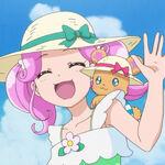 Kotoha junto a Mofurun saludando a las demas.jpg