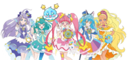 Banner of the Star☆Twinkle Pretty Cure holding the Star Color Pendants and Pens