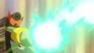 El saiark lanza un rayo apra desvanecer la rasing sword